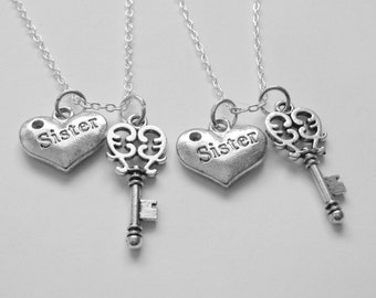 2  Sisters Are The Key To My Heart Necklaces