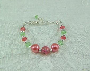 Baby Girl Bracelet, Peach Pearl Bracelet, Rose Bracelet, Baptism Bracelet, Infant Bracelet, Pearl, Crystal and Rose Bracelet, Baby Bracelet