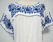 RESERVED- Mexican Embroidered Dress Crochet Split Sleeve Cotton White Tunic