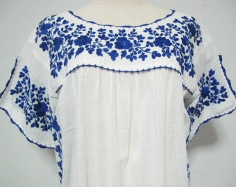 Mexican Embroidered Dress Crochet Split Sleeve Cotton White Tunic