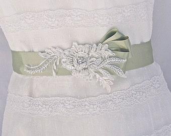 SALE 25% off, Bridal Sash-Wedding Sash In Ivory And Moss Green With Beaded Lace, Wedding Dress Sash, Bridal Belt