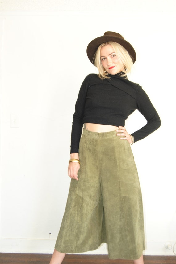 vintage high waisted pants coolots leather pants suede