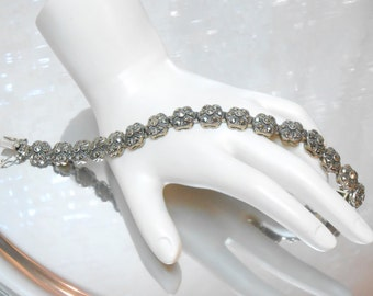 Vintage flower link sterling silver and marcasite stone womans bracelet