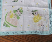 Mary Mary Quite Contrary Handkerchief 40s Child Hankie For Childs Quilt