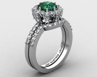 French 14K White Gold 1.0 Ct Chatham Emerald Diamond Engagement Ring Wedding Band Set R408S-14KWGDCEM