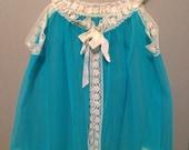 Vintage turquoise aqua 1960s 2 piece lingerie set