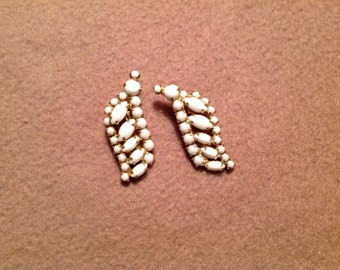 Vintage Gold Tone Clip On Earrings with white stones