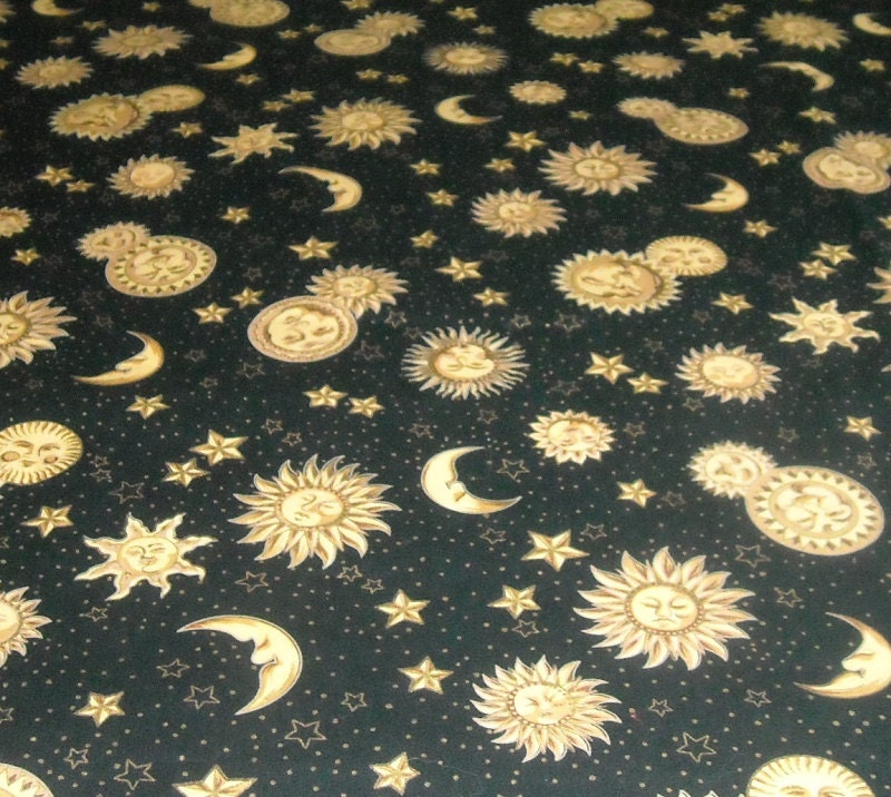 Sun moon stars celestial fabric shades of gold on black for Sun moon fabric