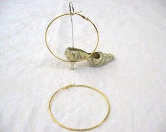 """Hoops 3 1/2"""" round, gold color / women / jewelry / pierced earrings / teen jewelry / women's jewelry"""