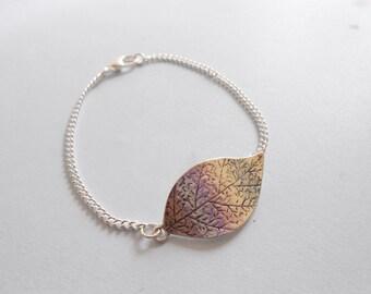 leaf bracelet - silver leaf bracelet - leaf pendant - leaf cuff bracelet - charm bracelet - leaf charm bracelet - leaf pendant