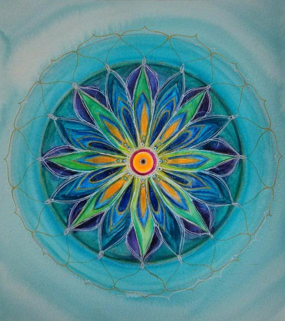 Spring mandala original mandala painting healing mandala for Mural mandala