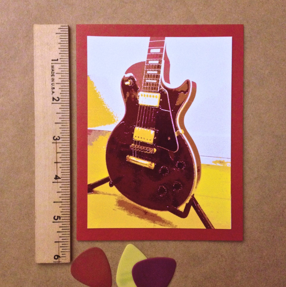 les paul electric guitar blank greeting card. Black Bedroom Furniture Sets. Home Design Ideas