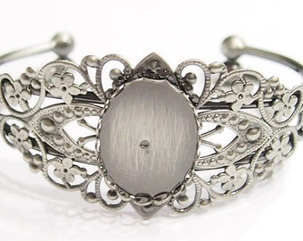 2 of 25x18 mm Antique Silver Sturdy Cuff Bracelet Settings for Cameos, Cabs, Glass, Tiles