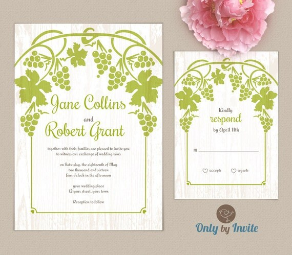Vineyard Wedding Invitations And RSVP Cards Bundle By