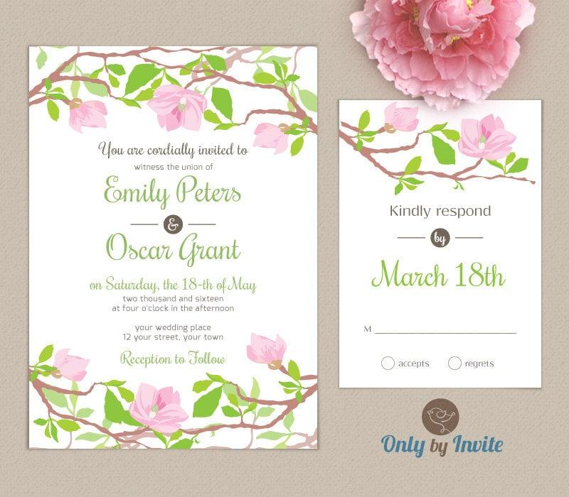 Item details for Magnolia tree wedding invitations