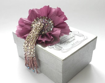 Mauve silk flower, Pink fabric flower brooch, bridal brooch, flower for sash, bridesmaid hair clip, mother of a bride brooch.