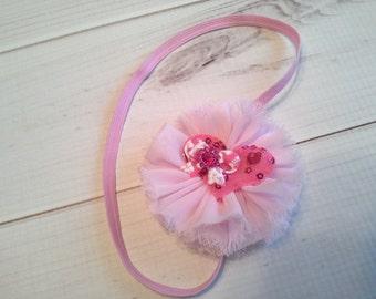 baby headband, baby girl headband, valentines headband, pink headband chiffon headband, flower headband, vintage headband, wedding headband