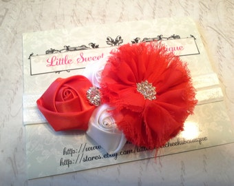 baby headband, baby girl headband, rosette headband, valentines headband, vintage headband, flower headband