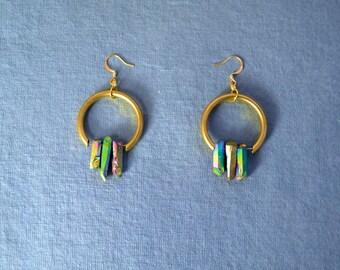 Magda - Raw Brass and Titanium Quartz Earrings