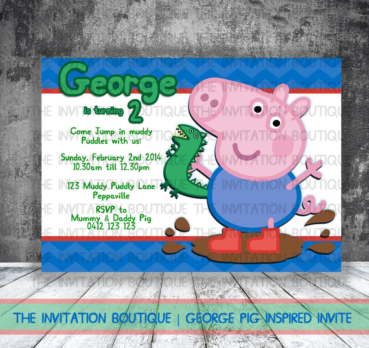 George Pig Dinosaur Invitation Peppa Pig by ...
