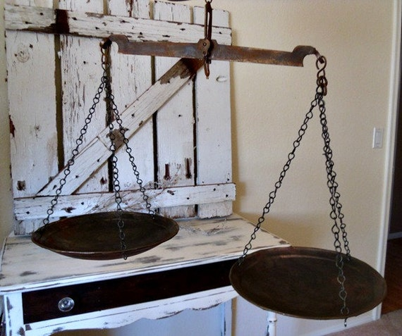 Vintage Hanging Kitchen Scale: Industrial Rustic Farmhouse Hanging Metal Scale