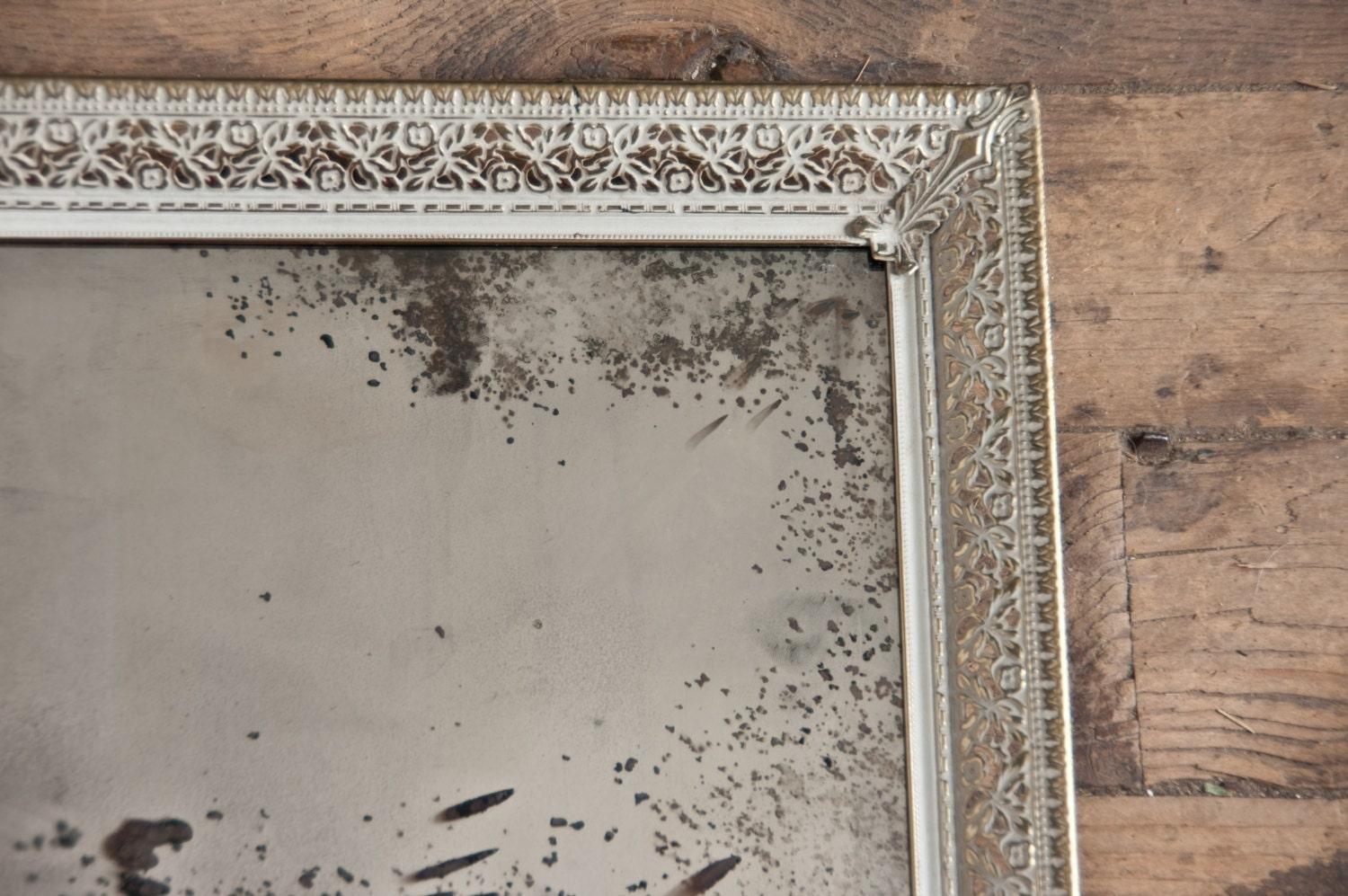 Silver Mirror Wall Photo Frame: Antiqued Silver Mirror Distressed Mirror Framed Silver Glass