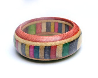 Wooden Band Ring - Skateboard Ring Limited Edition - Made from Recycled Skateboards by SESH