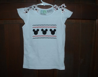 White 3T Embroidered Mouse Ears Shirt