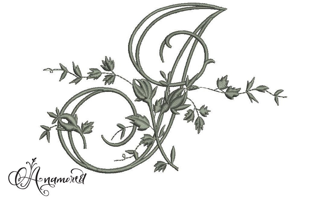 Letter J Fancy Vine Floral Embroidery Letter By Anamored