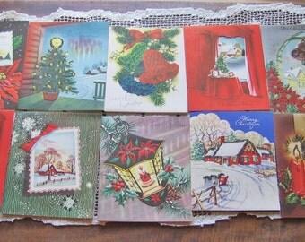 Vintage Christmas Cards Set of 10  UNSIGNED Stoneybrook Greetings