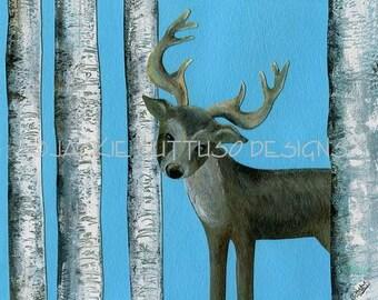 "Deer art giclee print 8 x 10"", Woodland nursery, Tribal animal kids art, Reindeer, Forest animal, Deer painting print, Birch trees cabin art"