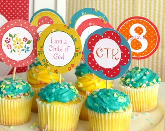 """Great to be 8 Cupcake Toppers Printable: LDS Girl Baptism 2"""" Party Circles - Instant Download - Bright Decoration - I am a Child of God, CTR"""