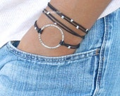 Pick COLOR / SIZE - LEATHER Wrap Infinity Boho Bracelet - Silver Infinity Circle Triple Wrap Natural Leather w/ Extension Chain - Usa - 777