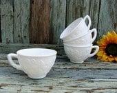 Set of 4 Vintage Milk Glass Cups
