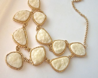 Druzy Drusy Cream Off Winter White Double Strand Gold Bezel Statement Necklace.  Winter Fashion  for Her. Druzy Jewelry. Drusy Necklace.