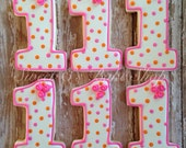 Polka Dot First Birthday cookies with Rosettes