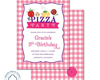 Pizza Party Invitation  |  Kids Birthday Invitation