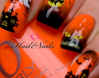 Halloween Nail Art Water Transfer Decal Nail Wraps Bats Witches Haunted House Y745