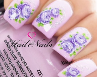 Lilac Glitter Flowers Rose Nail Art Wraps Water Transfers Decals Y922 Salon Quality