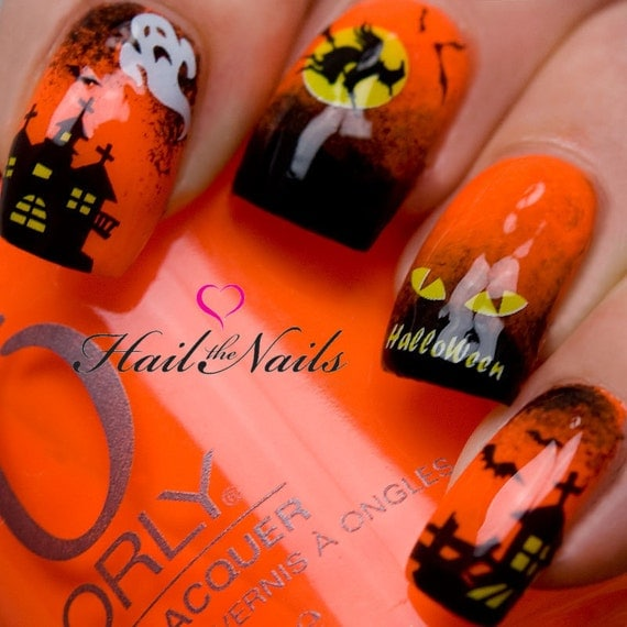 Halloween Nail Art Water Transfer Decal Nail Wraps Bats
