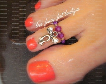 SALE - Toe Ring - Bow Charm - Silver - Amethyst - Stretch Bead Toe Ring