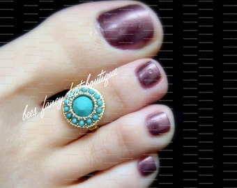 Toe Ring - Turquoise - Gold Metal - Stretch Bead Toe Ring