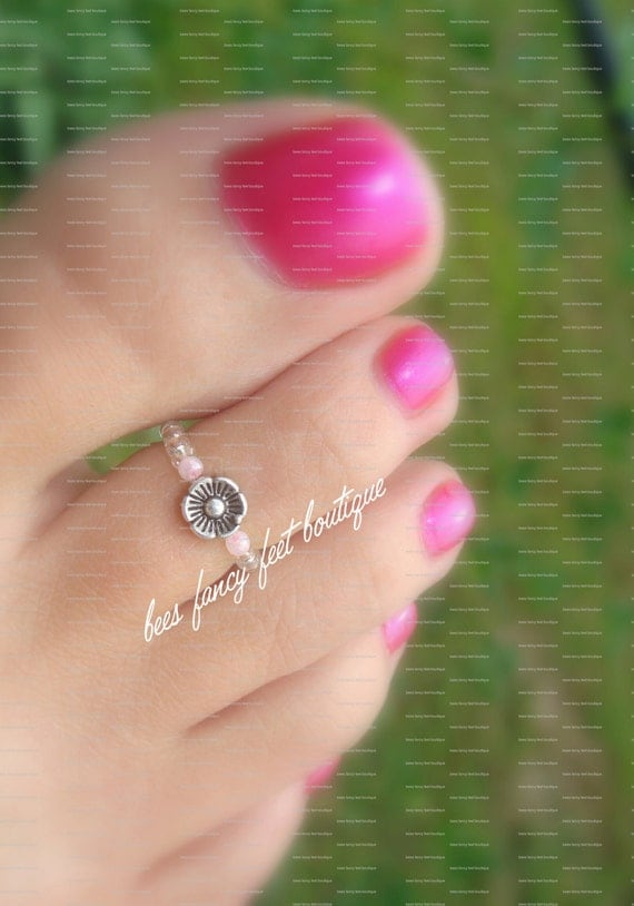Toe Ring - Silver - Dancing Baby Flower - Stretch Bead Toe Ring