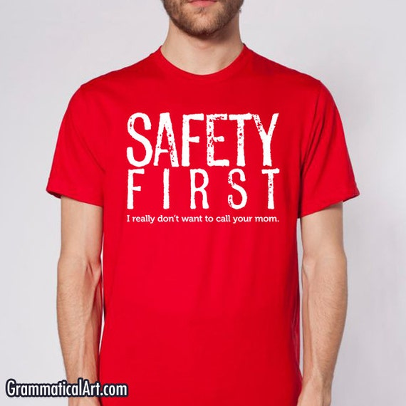 men s shirt safety first science teacher gift by