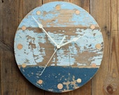 """Blue Driftwood Wall Clock (Round 10"""" Diameter)"""