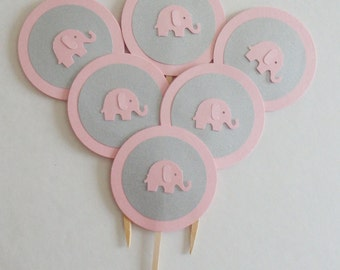12 pink and silver elephant cupcake toppers