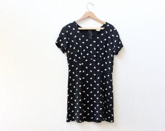Little Black Flower 90s Mini Dress