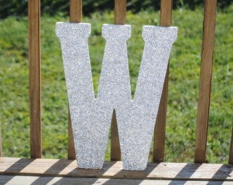 "Decorative 18"" Silver Glitter Wall Letters, Girls Bedroom Decor, Home Decor, Wedding Reception Decorations"