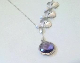 trio orchid flower necklace,wedding-bridal-bridesmaid-bridal shower jewelery,amethyst necklace,orchid necklace,orchid jewelry,gift