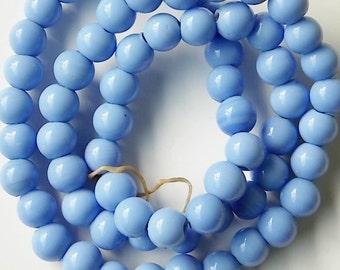 Blue Glass Round Beads (13mm - 65qty)